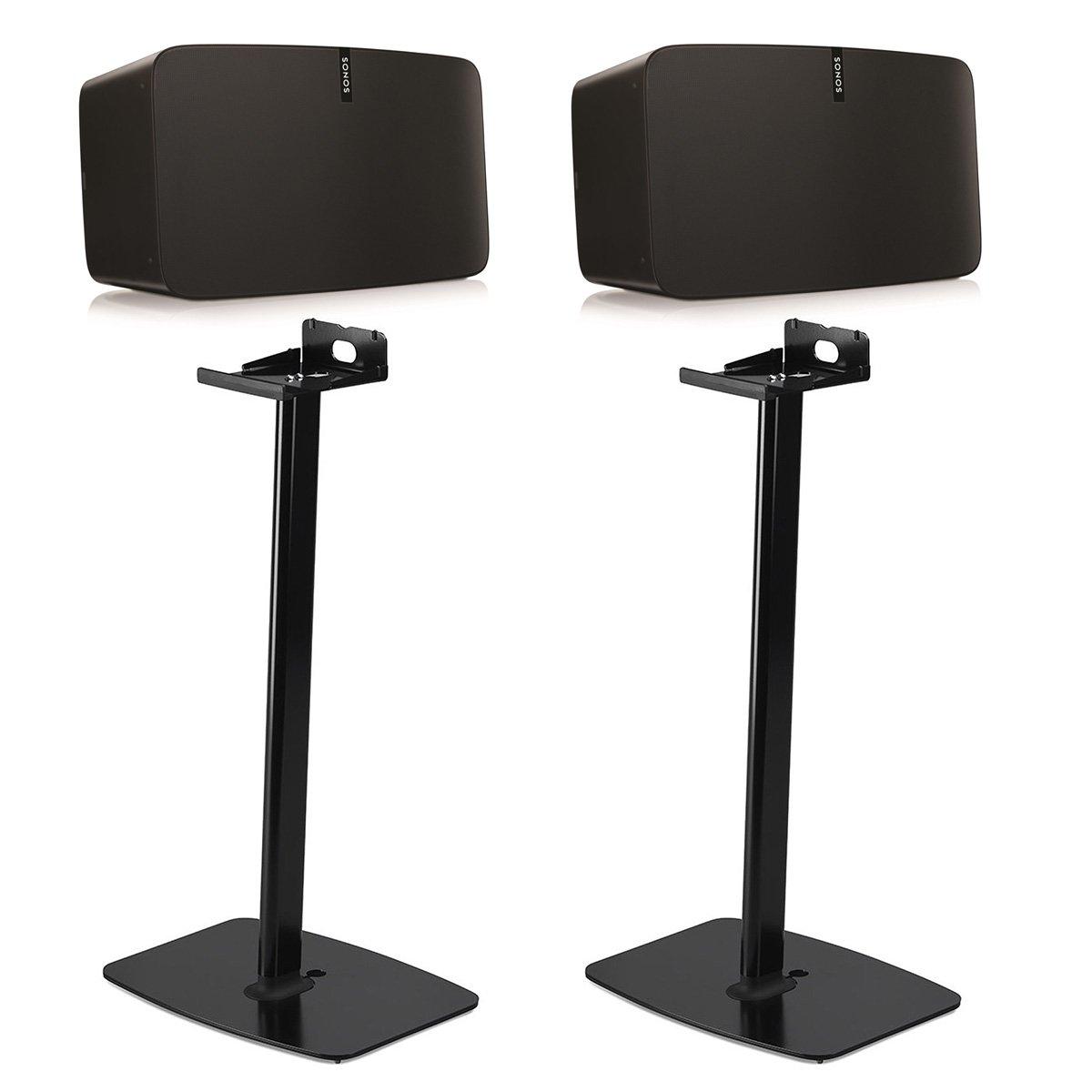 Sonos PLAY:5 Wireless Smart Speakers with Flexson Horizontal Floor Stands - Pair (Black)