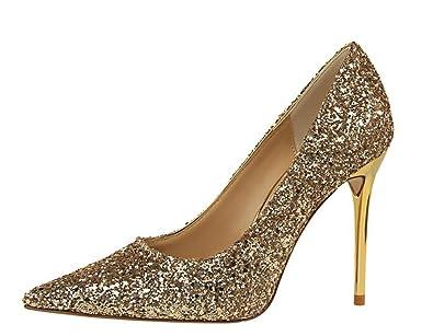5caf7cc098265 wealsex Escarpin Paillette Bout Pointu Talon Haute Aiguille Chaussure  Soirée Mariage Club Mode Sexy Femme (