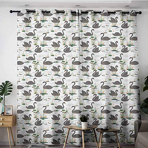 Cattail Wire Mesh - AGONIU Simple Curtains,Swan Grey Animals Swimming on a Lake with Plants Water Lilies and Cattails Calm Nature,Insulated with Grommet Curtains for Bedroom,W120x72L Multicolor