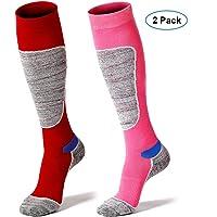 Calcetines de esquí 2 Pares de Esqui Funcional Snowboard Calcetines de Invierno para Mujer y Hombre