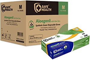 SafeHealth - Aloegenii Synthetic Green Vinyl Gloves with ALOE VERA, HD 5.5 mil, Case of 1000, Medium, Disposable, Powder-Free, Latex-Free, General Use, Cleaning & Food Service, Gardening