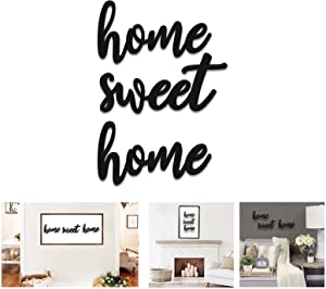 Home Sweet Home Sign Wall Decor Farmhouse Wooden Letters Saying for Living Room Family Quotes Wood Words Decorations for Bedroom, Front door, Entryway, Kitchen, Bathroom, Hallway, Fireplace BLACK