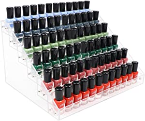 Kingtaily Nail Polish Organizer 72 Bottles of 6 Layers Acrylic Display Rack Storage Rack Holder Jewelry Makeup Organizer