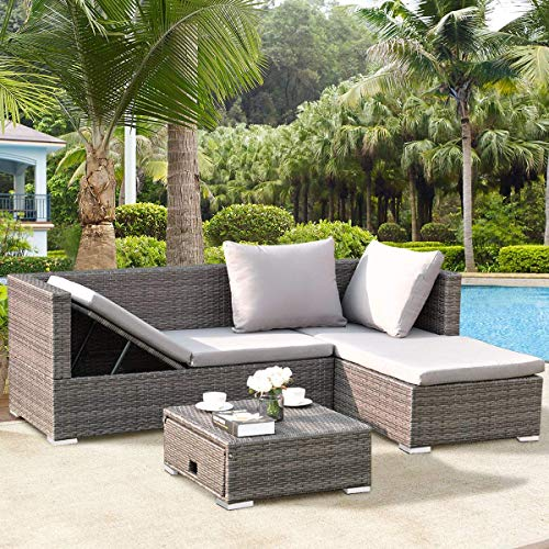Tangkula 3PC Patio Rattan Sofa Set Outdoor Garden Patio Wicker Rattan Adjustable Steel Frame Conversation Sofa Furniture Set Cushioned Sectional (Grey) (Ikea Sectional Outdoor Furniture)