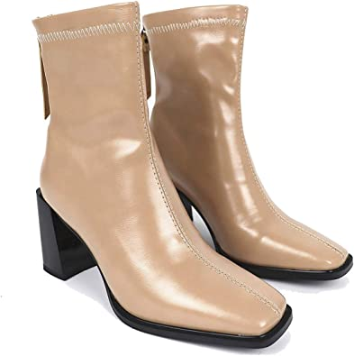 Fashion Womens Square Toe Ankle Boots Patent Leather Chunky Heel Side Zip Shoes