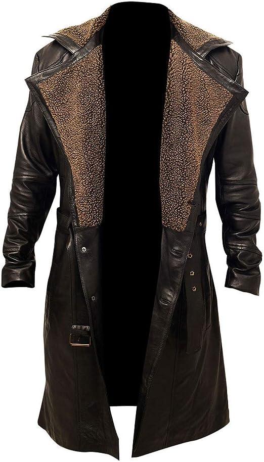 Leather Trench Long Coat Men Winter Genuine Lambskin Brown Jacket New Stylish