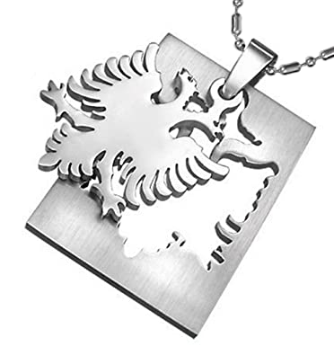 Stainless steel albanian double eagle pendant necklace with 23 inch stainless steel albanian double eagle pendant necklace with 23 inch stainless steel ball chain aloadofball Gallery