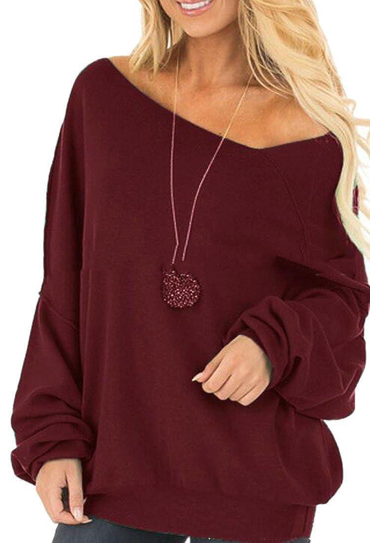 JXG Women Long Sleeve Loose Off Shoulder Solid Pullover Sweatshirt Tops