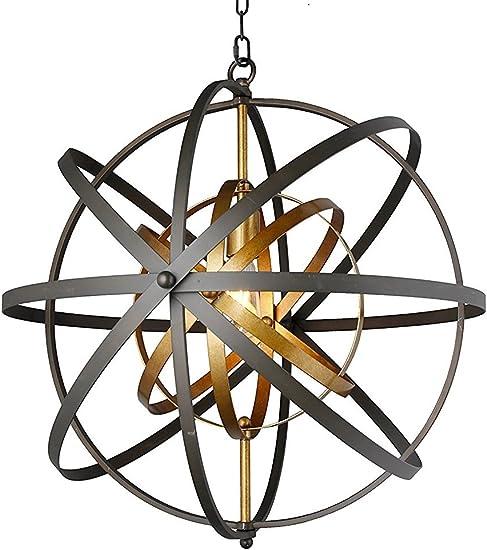 Decomust 24 Rustic Vintage Pendant Orb Chandelier Light Black and Brass Iron Steel Frame Sphere Globe Ceiling Light Fixture Lamps