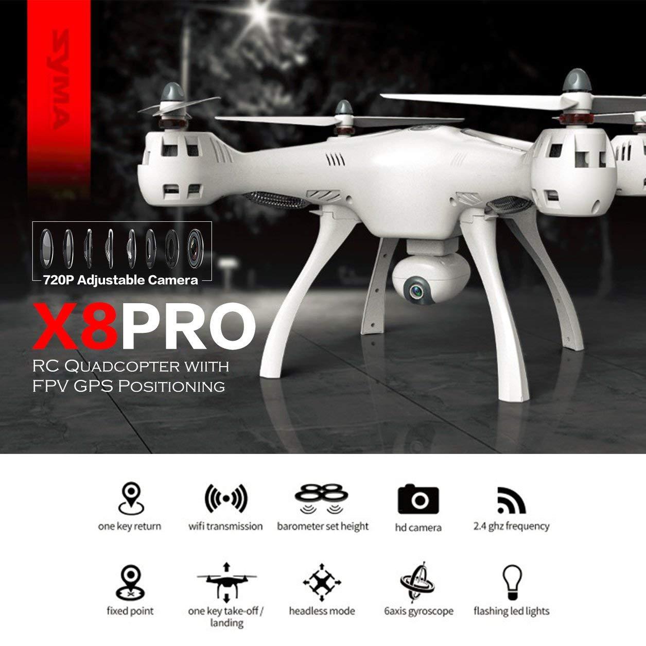 Dailyinshop Syma X8PRO 720P WiFi Cámara FPV en Tiempo Real GPS Posicionamiento RC Drone Quadcopter, Blanco