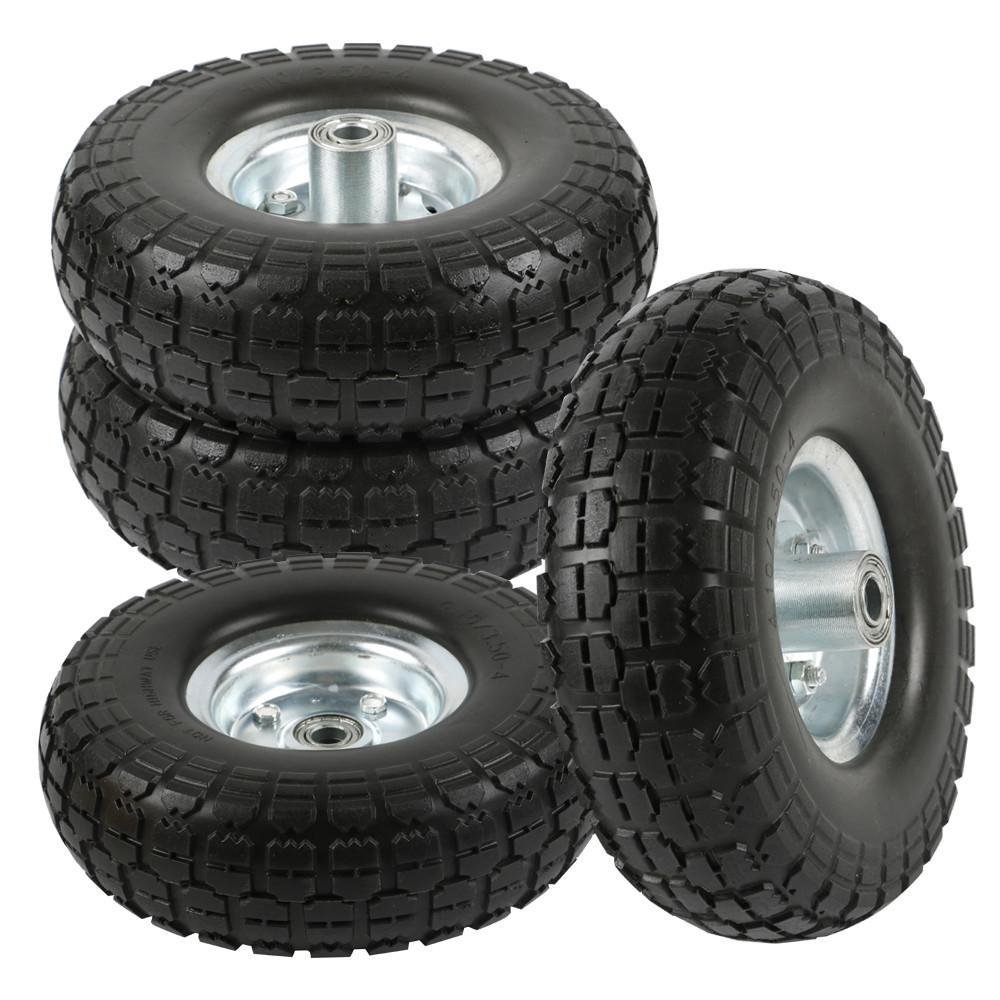 go2buy 4-Pack 10 Inch Solid Rubber Tyre Wheels Garden Wagon Cart Trolley Tires Replacement Wheels Black by go2buy