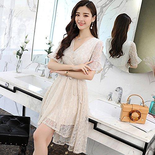 scollo maniche a donna a lunghe con e da lungo albicocca sottile RBB V Abito wFH6qRA60