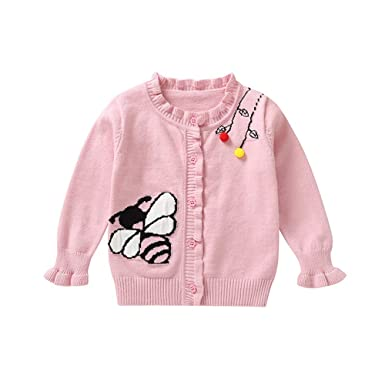 6c6dc0e95 Amazon.com  Hatop Toddler Baby Girls Autumn Button Hooded Knitted ...