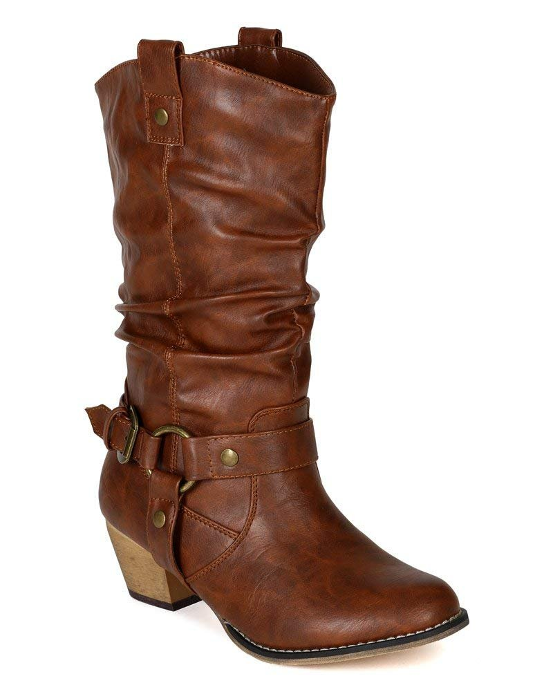 Women Mid-Calf Western Style Rubber Sole Cowboy Boots with O-Ring Studded with Distressed PU Upper WD02 Tan 9
