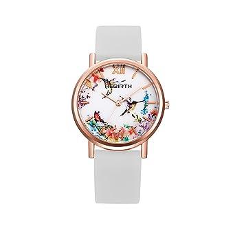 longqi reloj mujer reloj de cuarzo dial de estampado vintage ...