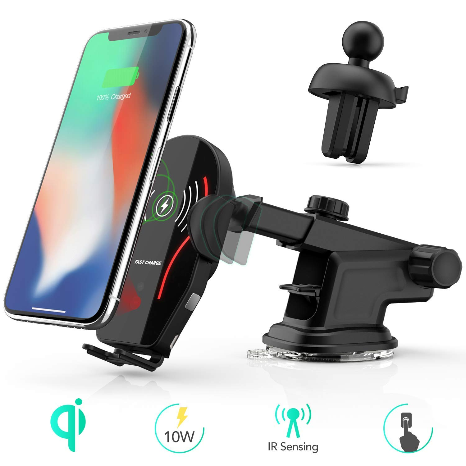 Wireless Car Charger Auto Clamping, AGPTEK Qi Fast Charging Car Mount 10W, 7.5w for Windshield Dashboard Air Vent Infrared Sensor Compatible with iPhone Xs Max XR XS X 8 Plus Samsung Galaxy S9 S8 S7 by AGPTEK