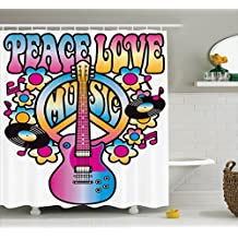 Ambesonne Groovy Decorations Shower Curtain Set, Peace Love Music Text With Peace Symbol, Guitar, Vinyl Records, Flowers Musical Notes, Bathroom Accessories, 69W X 70L Inches
