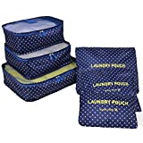 YH Pretty 6pcs Packing Cubes Set Travel Luggage Organizer Bag 3 Cubes 3 Pouches