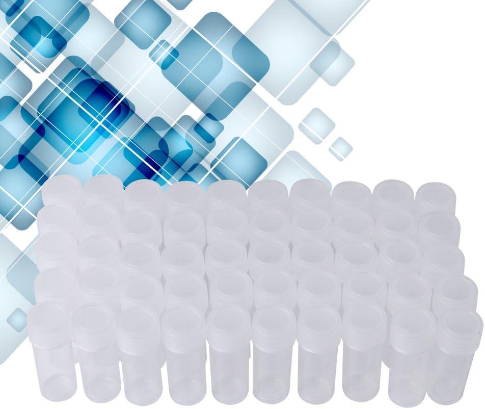 Botella de muestra de 50 piezas, 5 ml de volumen Botellas de muestra de plástico Mini contenedor de almacenamiento transparente portátil con tapa para accesorios de laboratorio