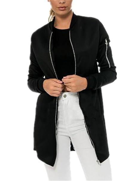 AILIENT Chaqueta Largo Mujer Hipster Manga Larga Abrigos Elegante Jacket Top Vintage Coat Clasicos Outwear Color SÓLido con Cremallera: Amazon.es: Ropa y ...