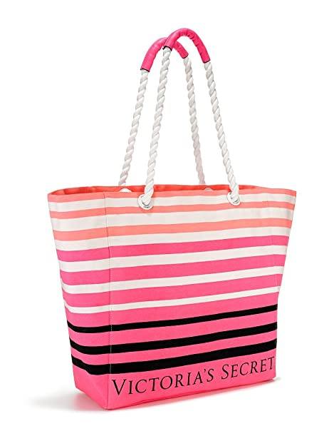 Victorias Secret Pink Striped Beach Tote Bag