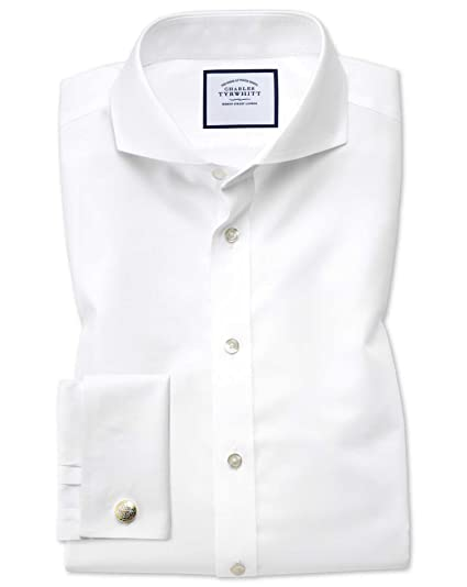 Slim Fit Extreme Cutaway Non-Iron Twill White Cotton Formal Shirt Double  Cuff by Charles Tyrwhitt: Amazon.co.uk: Clothing