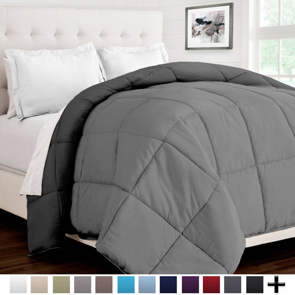 Bare Home Ultra-Soft Premium 1600 Series Goose Down Alternative Reversible Comforter - Hypoallergenic - All Season - Plush Fiberfill (Twin/Twin XL, Light Grey/Grey)