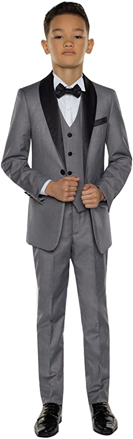 Kelaixiang Boys Grey Suits Set 3 Piece Slim Fit Dresswear Suit Pants Vest Jacket for Wedding