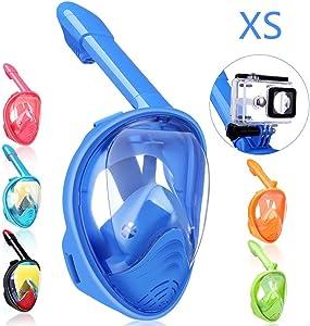 QingSong Full Face Snorkel Mask, Snorkeling Mask with Detachable Camera Mount, 180 Degree Panoramic View Anti-Fog Anti-Leak Snorkel Set for Kids & Adult