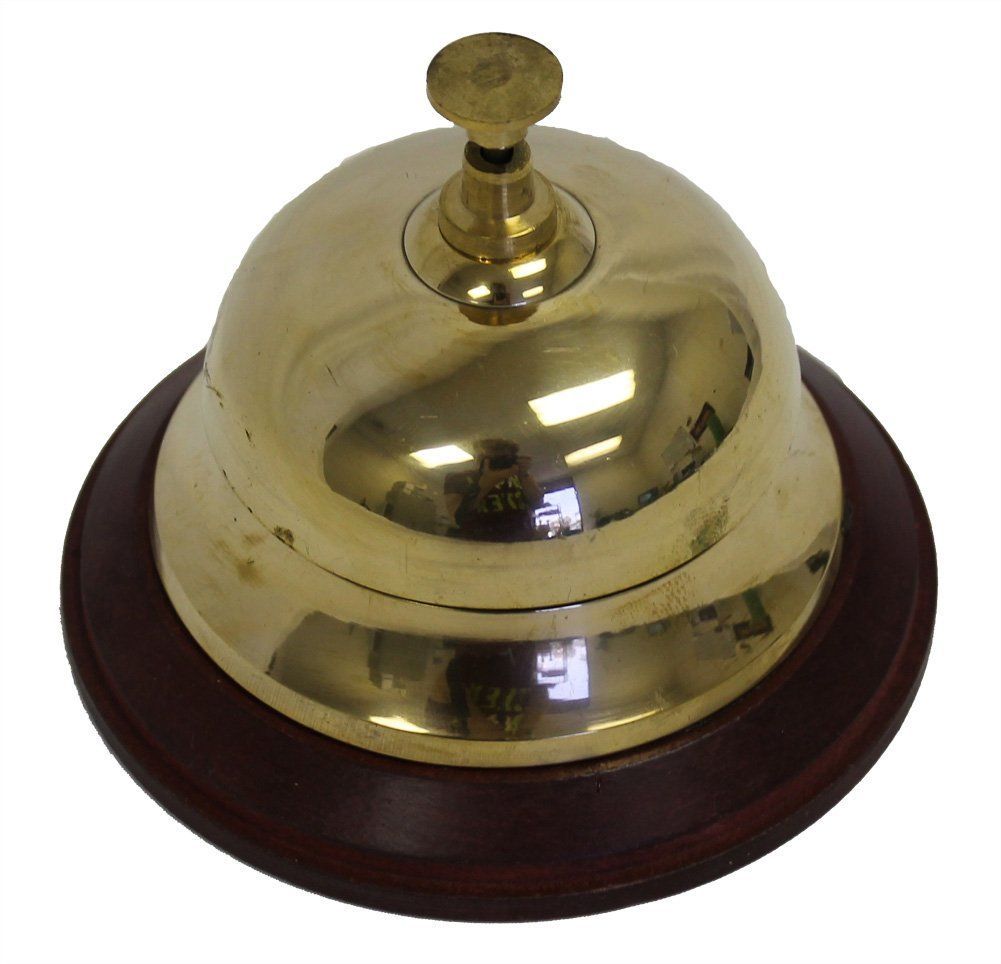 Solid Brass Front Desk Bell 3.75'' on Wood Base Hotel or Counter Service