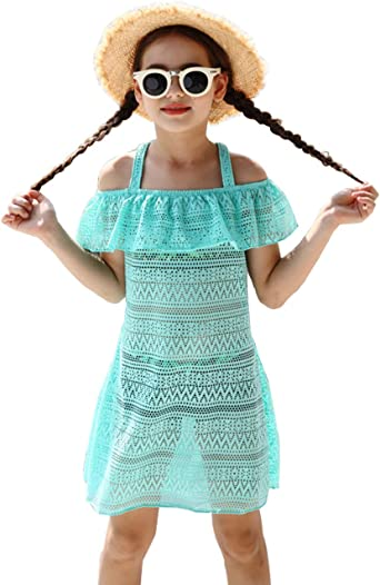 Hilor Girls Cover-ups Swimwear Off Shoulder Swimdress Ruffled Hollow Beach Dress Cover Up for Kids