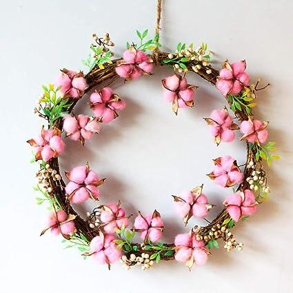 QIANDONG1 Rattan Cotton Flowers Hangings Door Winder Hangings Handmade Home  Decor Wreath Natural Fruit Flowers Pendant