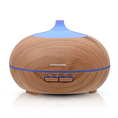 Ominihome Essential Oil Diffuser 300ml Cool Mist Humidifier Ultrasonic Aroma Diffuser, Waterless Auto Off, Wood Grain, Brightness Adujstable, Birthday Gift (shallow wood grain)