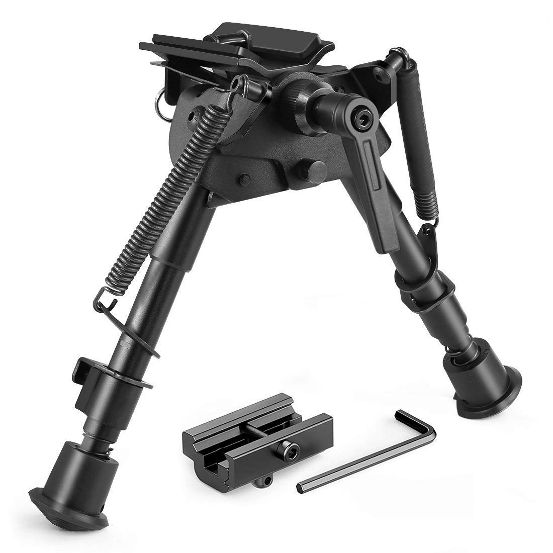 Twod Rifle Bipod 6-9 Inch Adjustable Spring Return Picatinny & Swivel-Stud Sniper Hunting Bipod with Mount Adapter by Twod