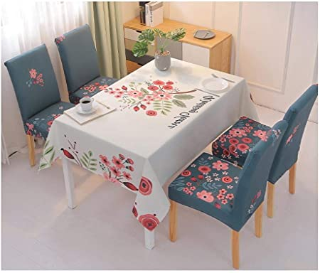 Mantel Impermeable, Tela, Juego de Fundas para sillas de Mesa de Comedor, Fundas para sillas nórdicas, tapete de Escritorio para Estudiantes-S_140 * 180 cm + 6 Fundas de Asiento: Amazon.es: Hogar