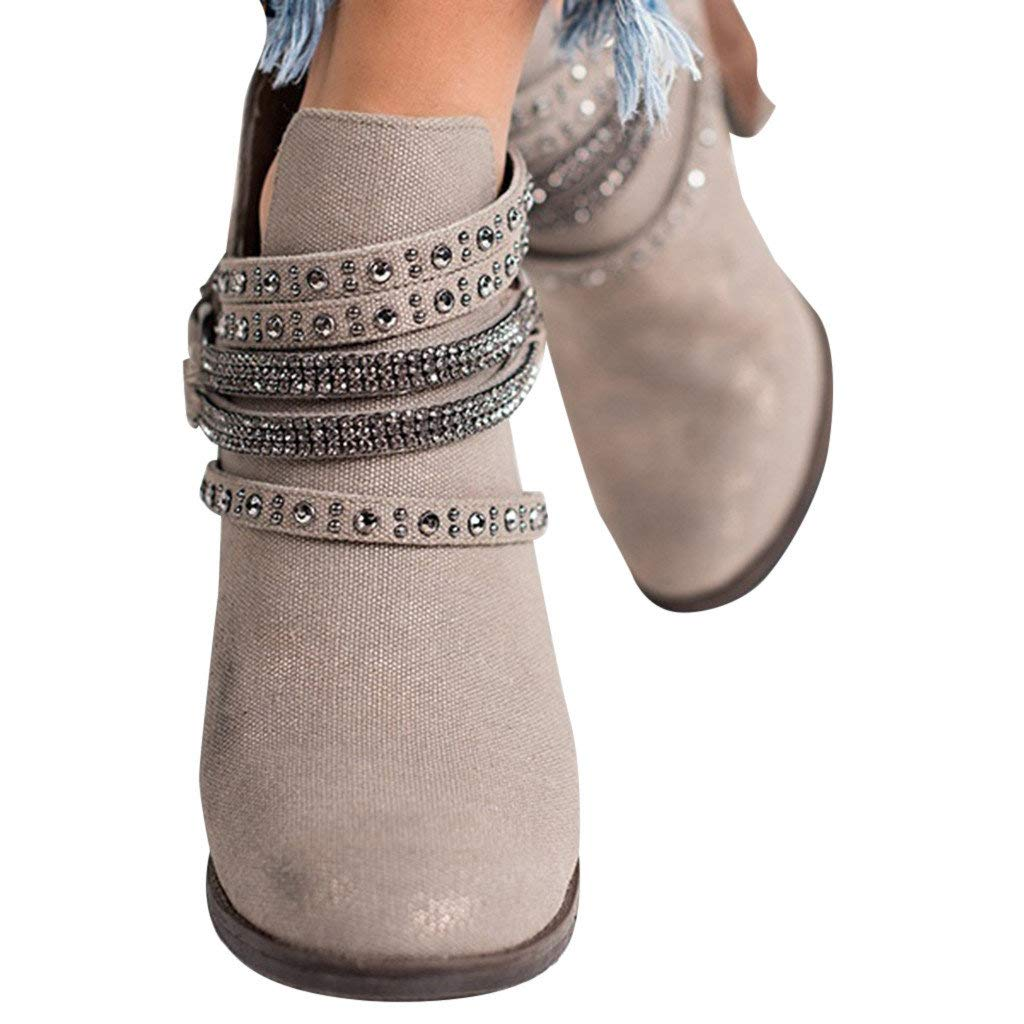 Veodhekai Women Flats Low Heel Boots Cross Strap Buckle Keep Warm Winter Pure Color Ankle Boots Wedding Work Shoes Gray by Veodhekai