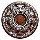 Fine Art Deco ''Silver Cup'' Hand Painted Ceiling Medallion 23-5/8 In. Finished in Silver, Copper and Warm Silver