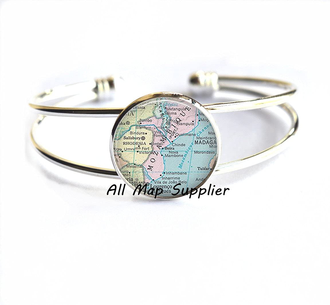 Mozambique Bracelet map jewelry,A0281 Mozambique map Bracelets Mozambique Bracelets Charming Bracelet,Panama City,Mozambique map Bracelet