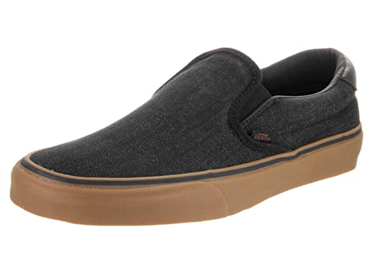 mens black vans slip on