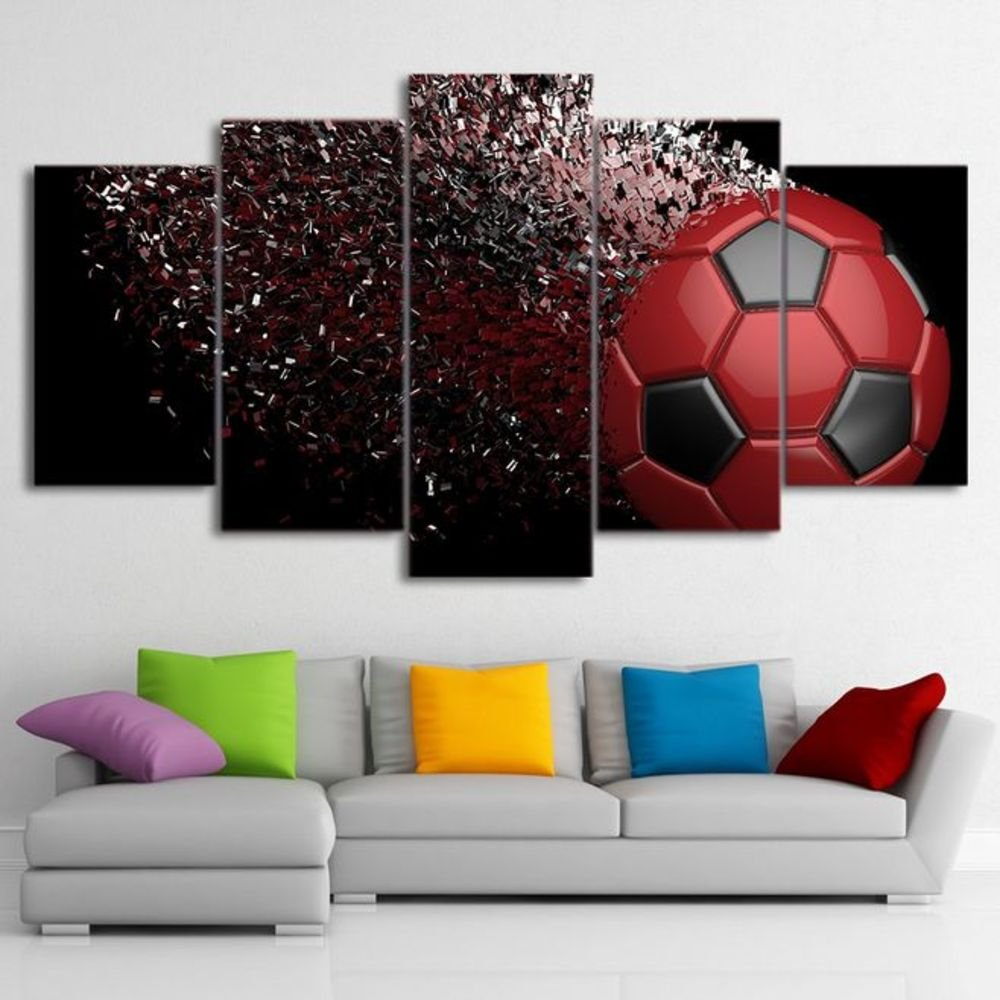 Waterproof Canvas Painting Wall Art Soccer Football Sports Themed Canvas Wall Art for Boys Room Wall Decor Boys Gift Wall Pictures for Living Room & Bedroom, Red, Framed, size 3