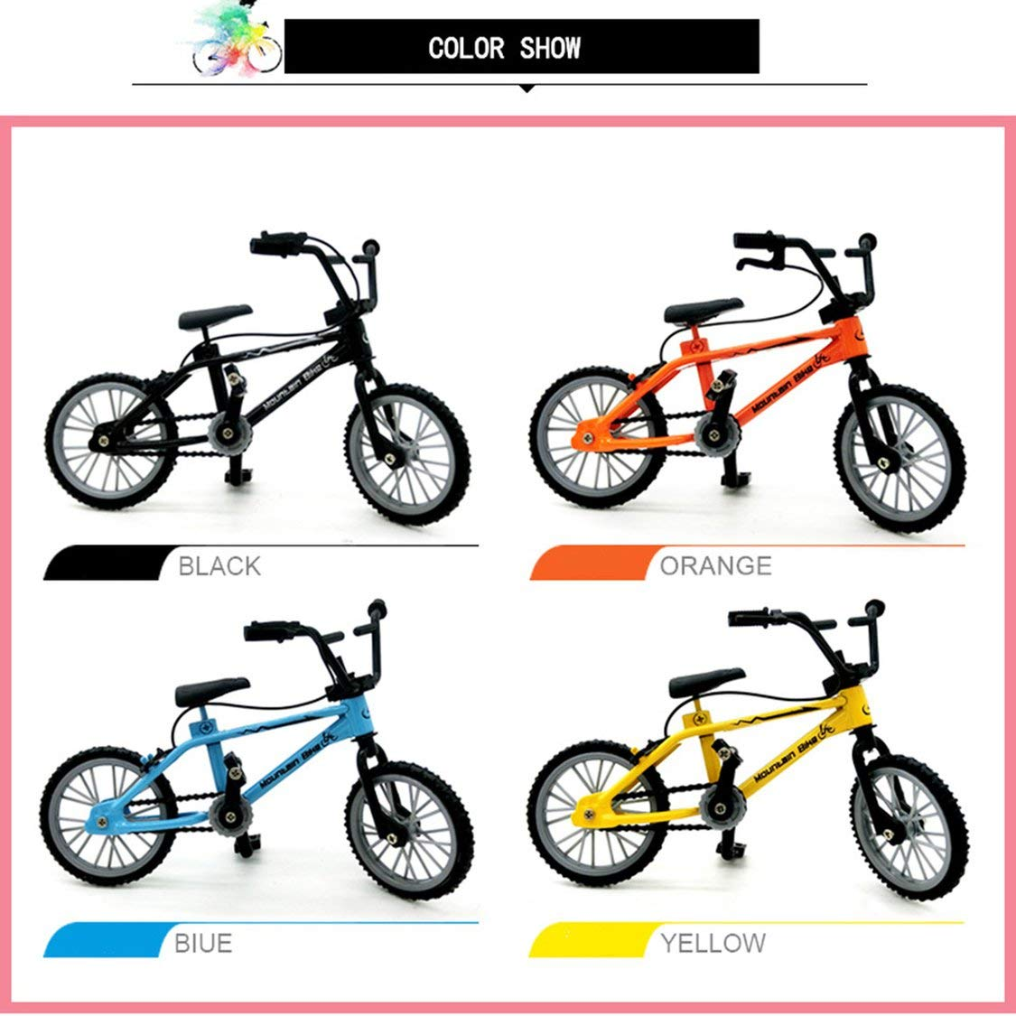 Gwendoll Mini-Dedo-BMX Set Fans de Bicicleta Juguete Aleaci/ón Dedo BMX Funcional Kids Bicicleta modle Dedo Bicicleta BMX Juguetes Regalo Amarillo