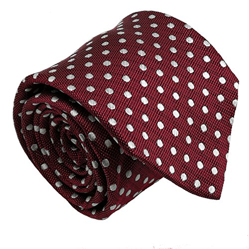 - Qobod Classic Men's necktie 100% Silk polka dot tie Woven JACQUARD Neck Ties gift box burgundy white dot maroon wine color