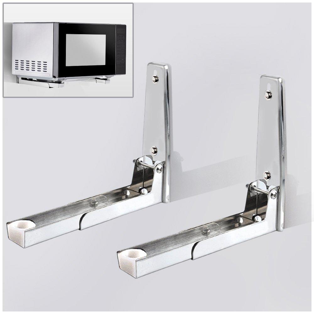 Hug Flight 304 Stainless Sturdy Foldable Microwave Oven Wall Mount Bracket Shelf Rack Load 130lb