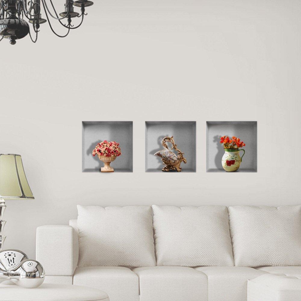 JinRou Kinder Geschenke 3D Wall Sticker (Fenster) Wall Sticker wallpaper hd Selbstklebendes Papier Hintergrund Schlafzimmer Wohnzimmer Fernseher Sofa (30*30cm)