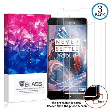 Ycloud [3 Pack] Protector de Pantalla para OnePlus 3 / OnePlus 3T,[9H Dureza/0.3mm],[Alta Definicion] Cristal Vidrio Templado Protector para OnePlus ...