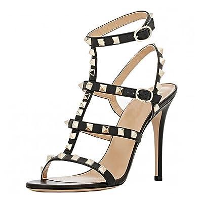 ea26e917ac1 VOCOSI Women s Ankle Strap High Heels Studded Strappy Stilettos Open Toe  Dress Sandals M-Black