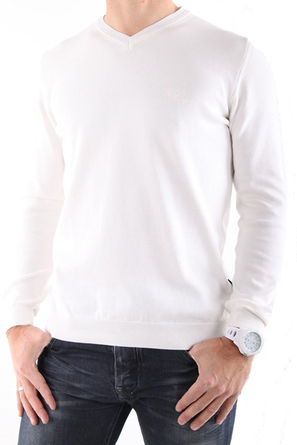 HUGO BOSS Men's V-Neck Long Sleeve Jumper Batisse-B - White, M