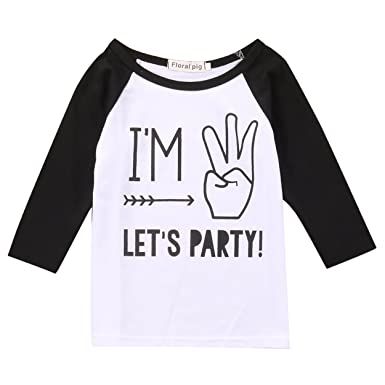 Toddler Boys Girls Birthday Party Outfit Kids Long Sleeve Funny T Shirt Top 1 4