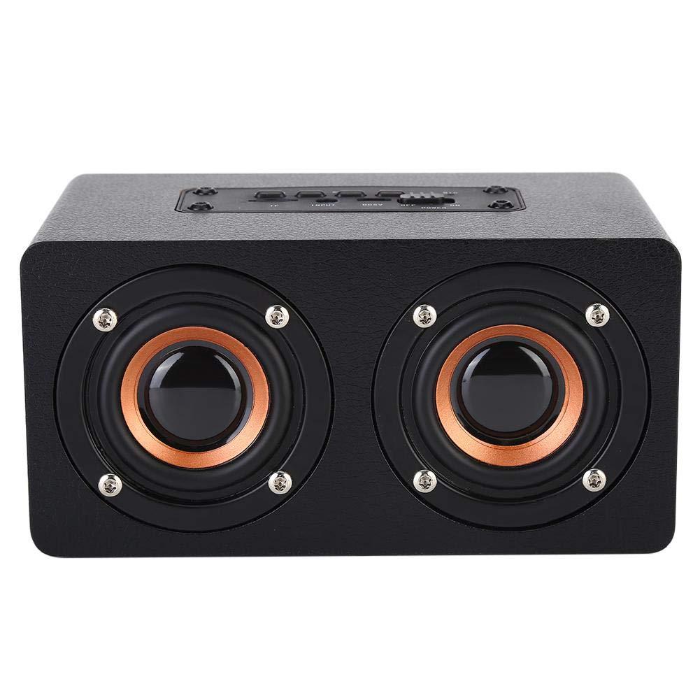Bluetooth Lautsprecher,Holz Wireless Bluetooth Lautsprecher HiFi Musik Heavy Bass Sound Subwoofer,Multifunktion Stereo-Surround Lautsprecher mit Freisprechen,Unterst/ützt TF-Karte//AUX Schwarz