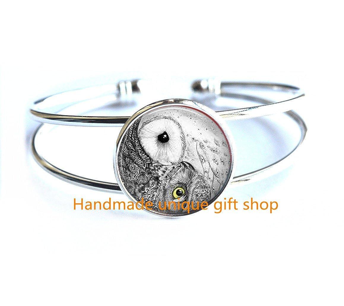 Yin Yang Owl Bracelet Bird Jewelry Zen Nature Art Bracelet-RC083 Simple Bracelet Dainty Bracelet